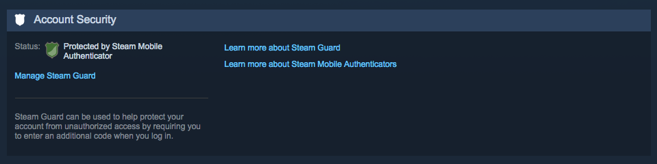 Steam Account Security Settings